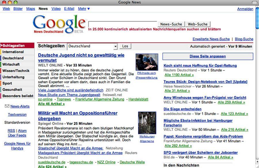SCREENSHOT Google News