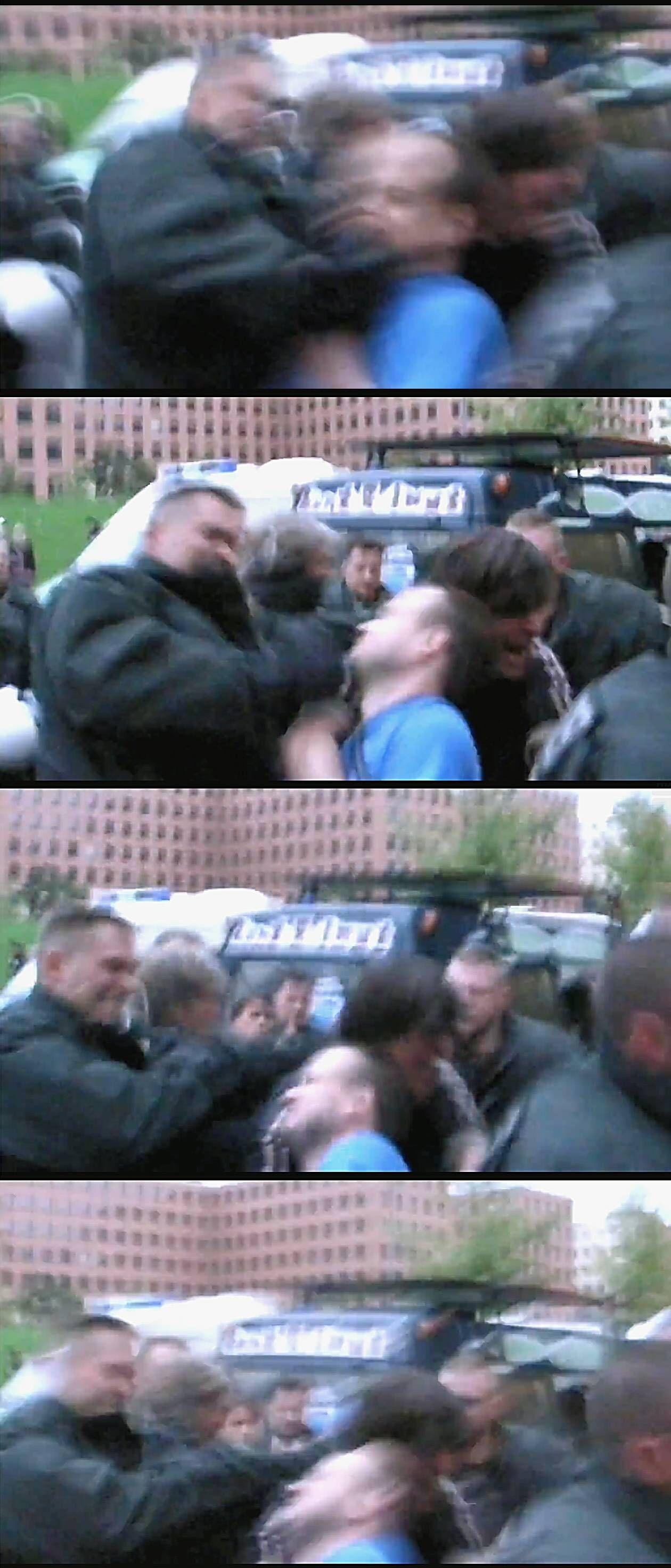 NICHT VERWENDEN Polizist schlaegt auf Demonstrant ein