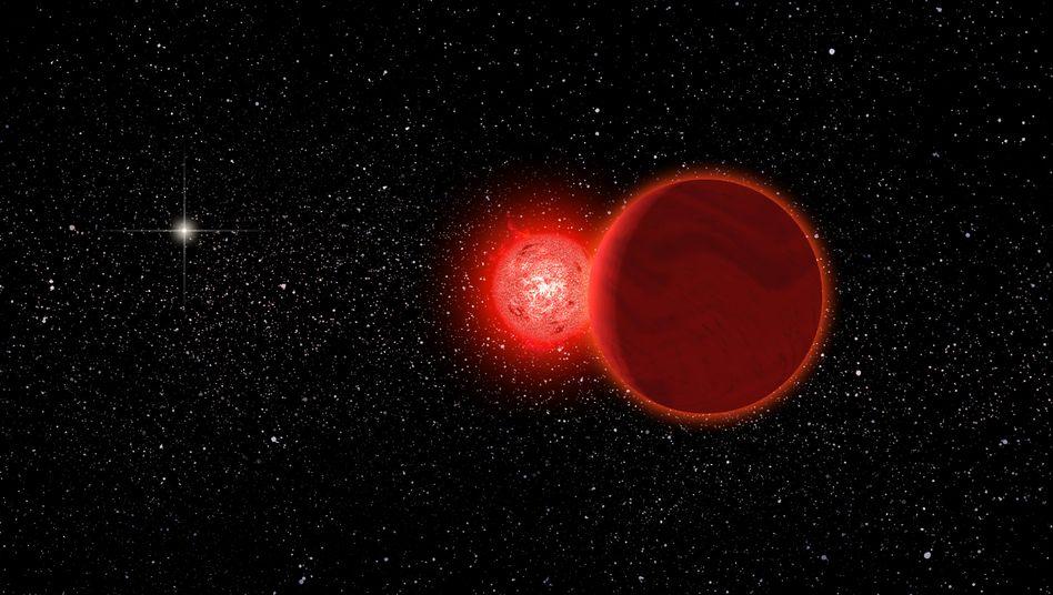 Roter Zwerg mit Begleiter (Zeichnung): Abstand von 0,8 Lichtjahren