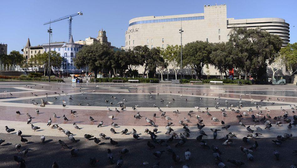 Plaza de Catalunya am Ende der Las Ramblas nach dem Anschlag