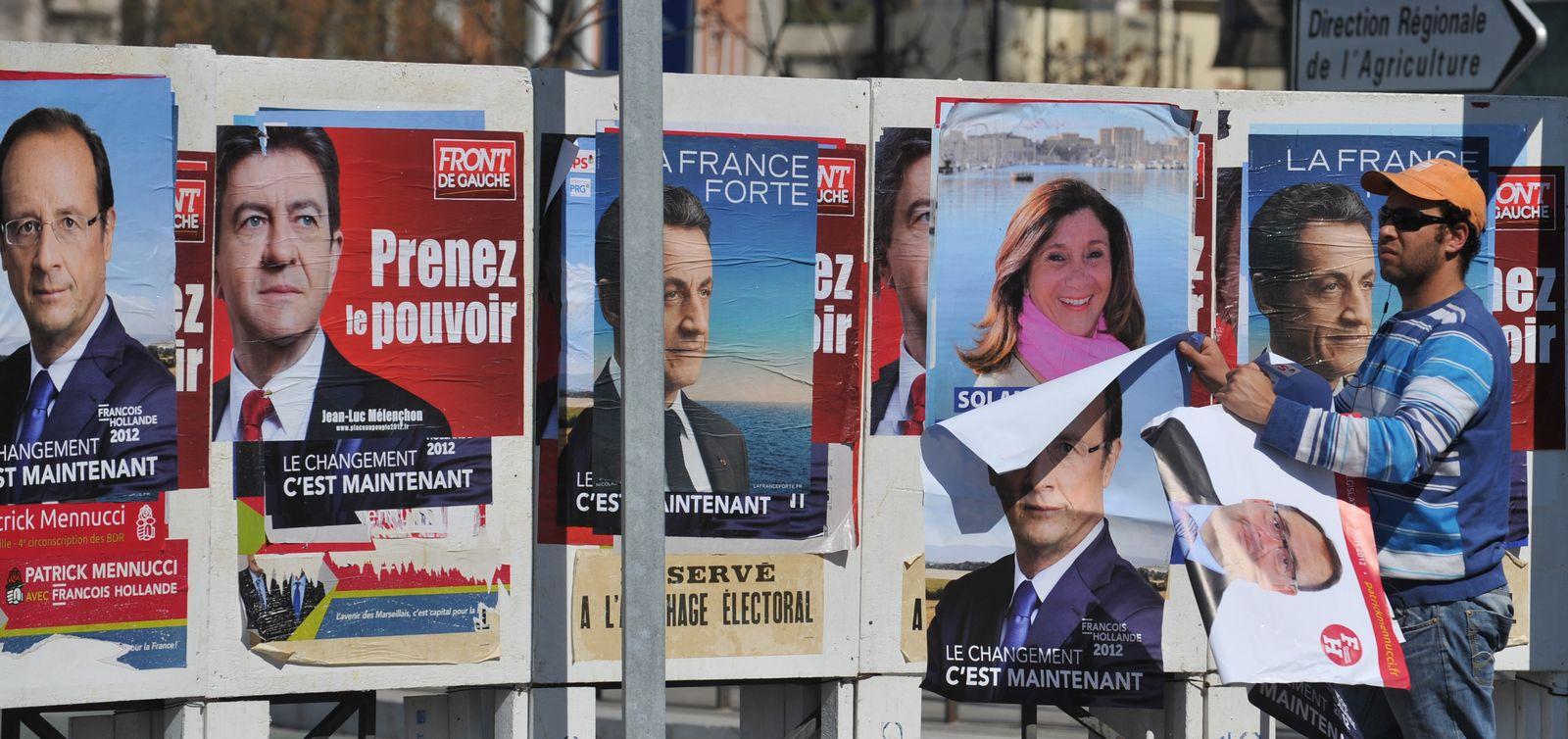 Wahlplakate in Marseille 2012
