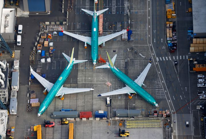 Geparkte Boeing 737 Max im Firmenwerk bei Seattle