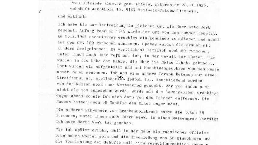 Ein Erklärung über den Tod von Otto Werk im Februar 1945