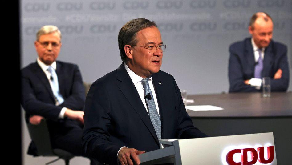 CDU-Chefposten-Bewerber Armin Laschet (M.), Norbert Röttgen, Friedrich Merz (bei einer digitalen Vorstellungsrunde am 8. Januar)
