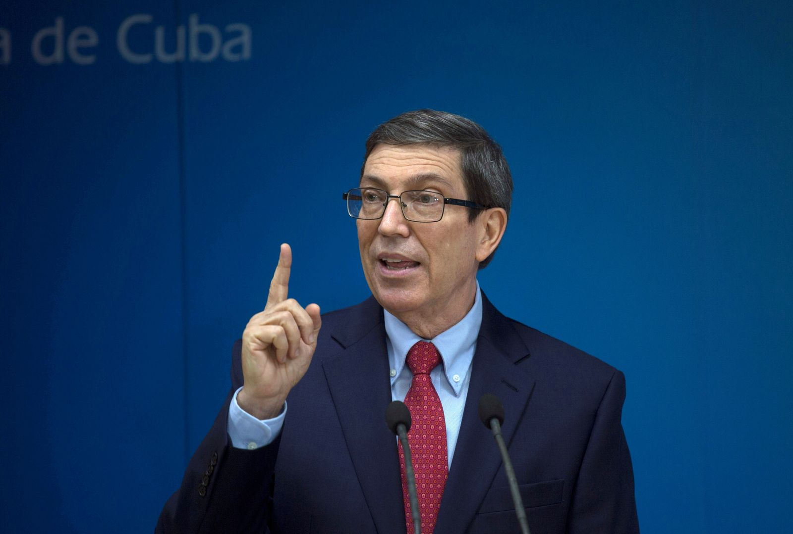 Cuba's Foreign Minister Bruno Rodriguez Parilla speaks during a news conference in Havana