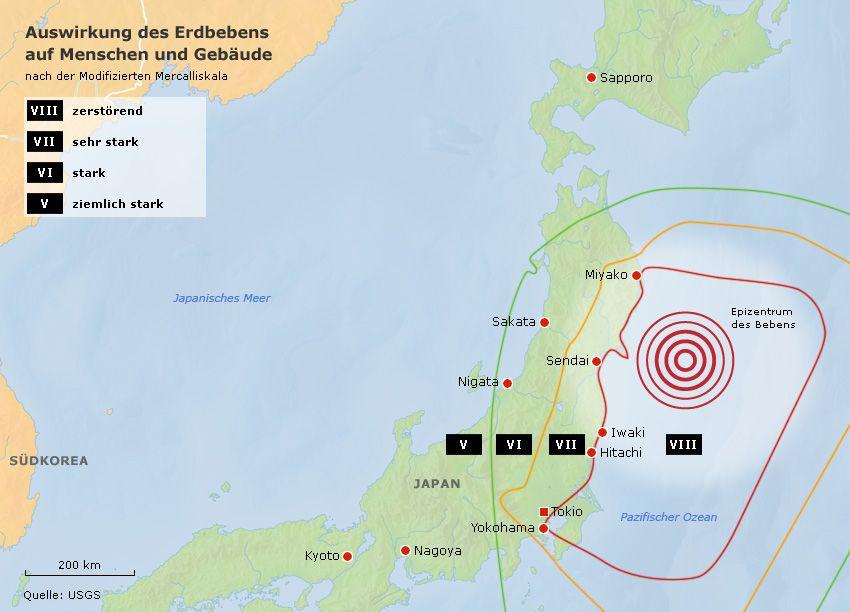 Karte Japan Erdbeben Auswirkungen auf Menschen Gebäude