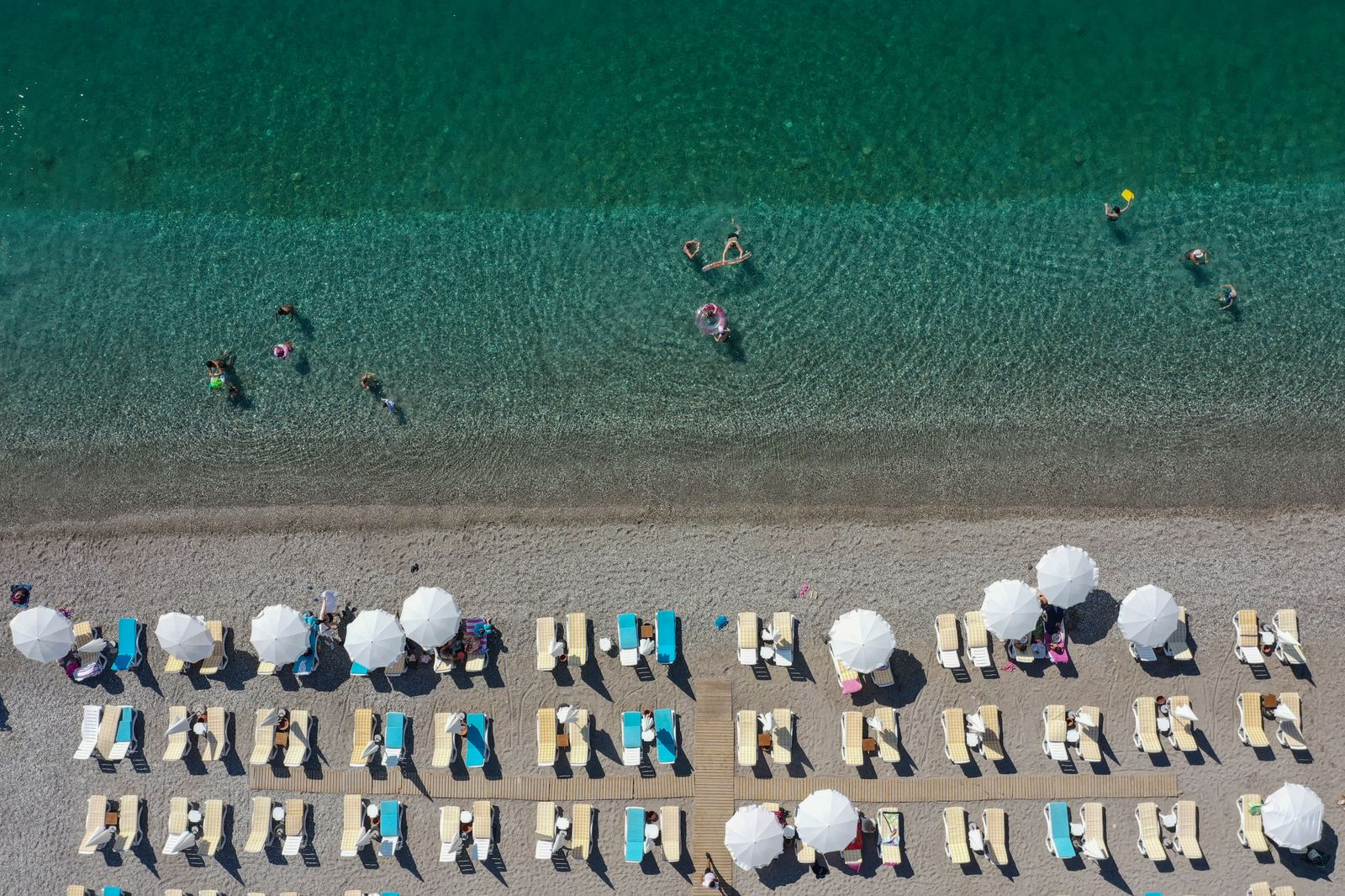 Beaches in Antalya during hot weather