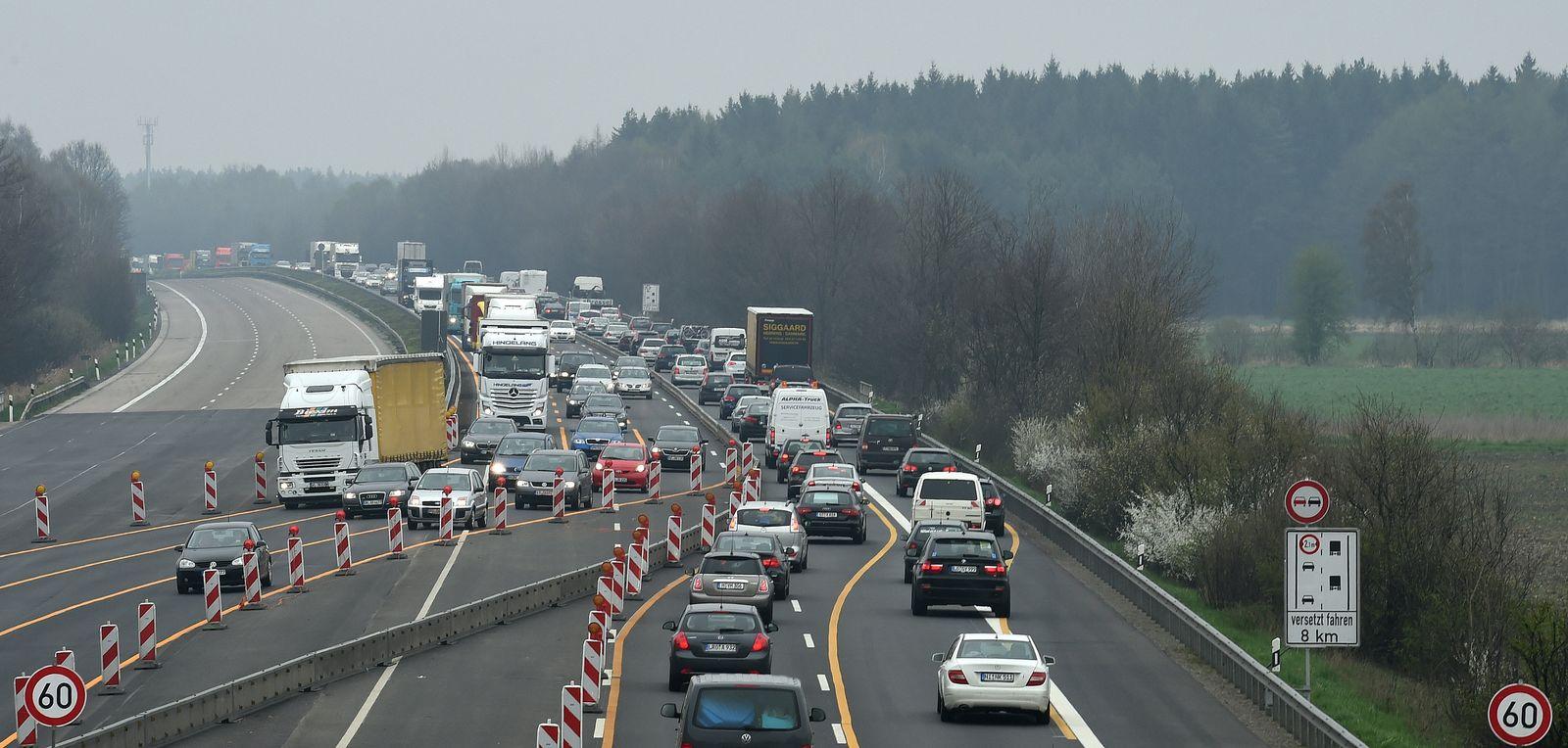 Autobahn-Baustelle A7 bei Hannover