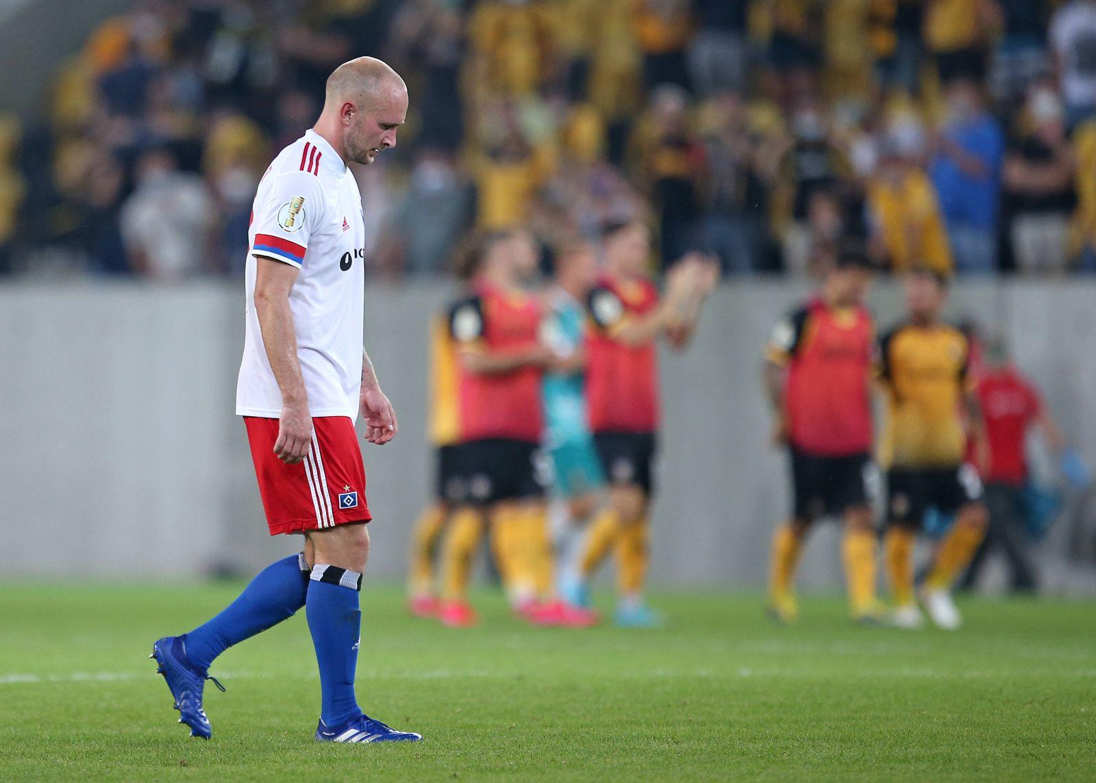 14.09.2020, Fussball DFB Pokal 2020/2021, 1. Runde, SG Dynamo Dresden - Hamburger SV, im Rudolf-Harbig-Stadion Dresden.