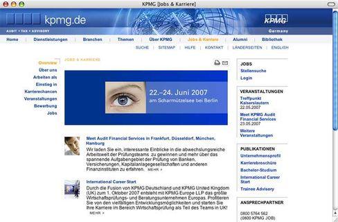 Sreenshot der KPMG-Homepage: Sonderbericht wurde nicht fertig gestellt