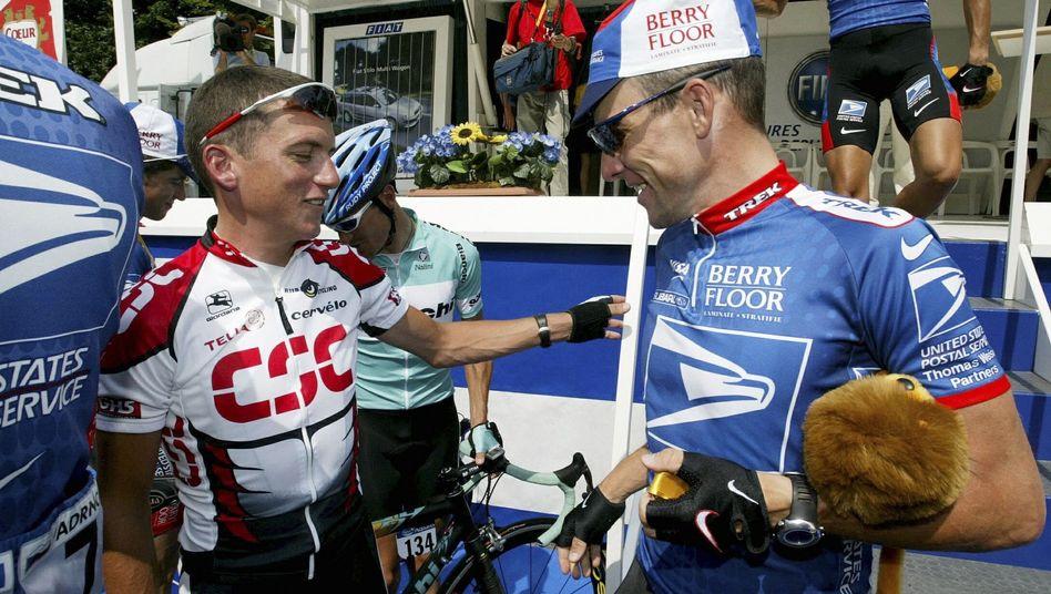 """Ex-Radprofi Hamilton (l) über Armstrong (r.) (2003): """"Ich sah, wie er sich Epo spritzte"""""""