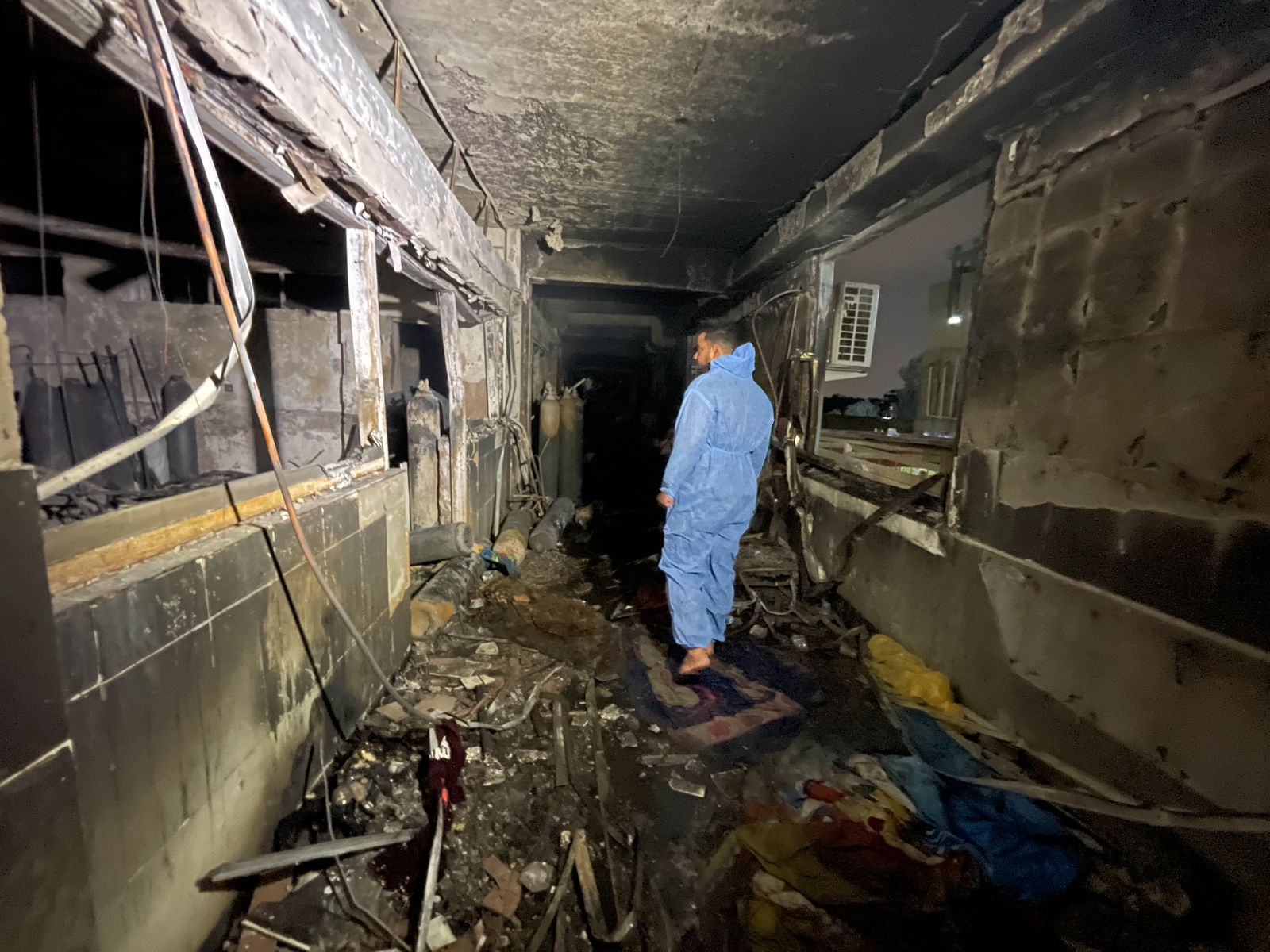 Aftermath of fire at hospital in southern Baghdad