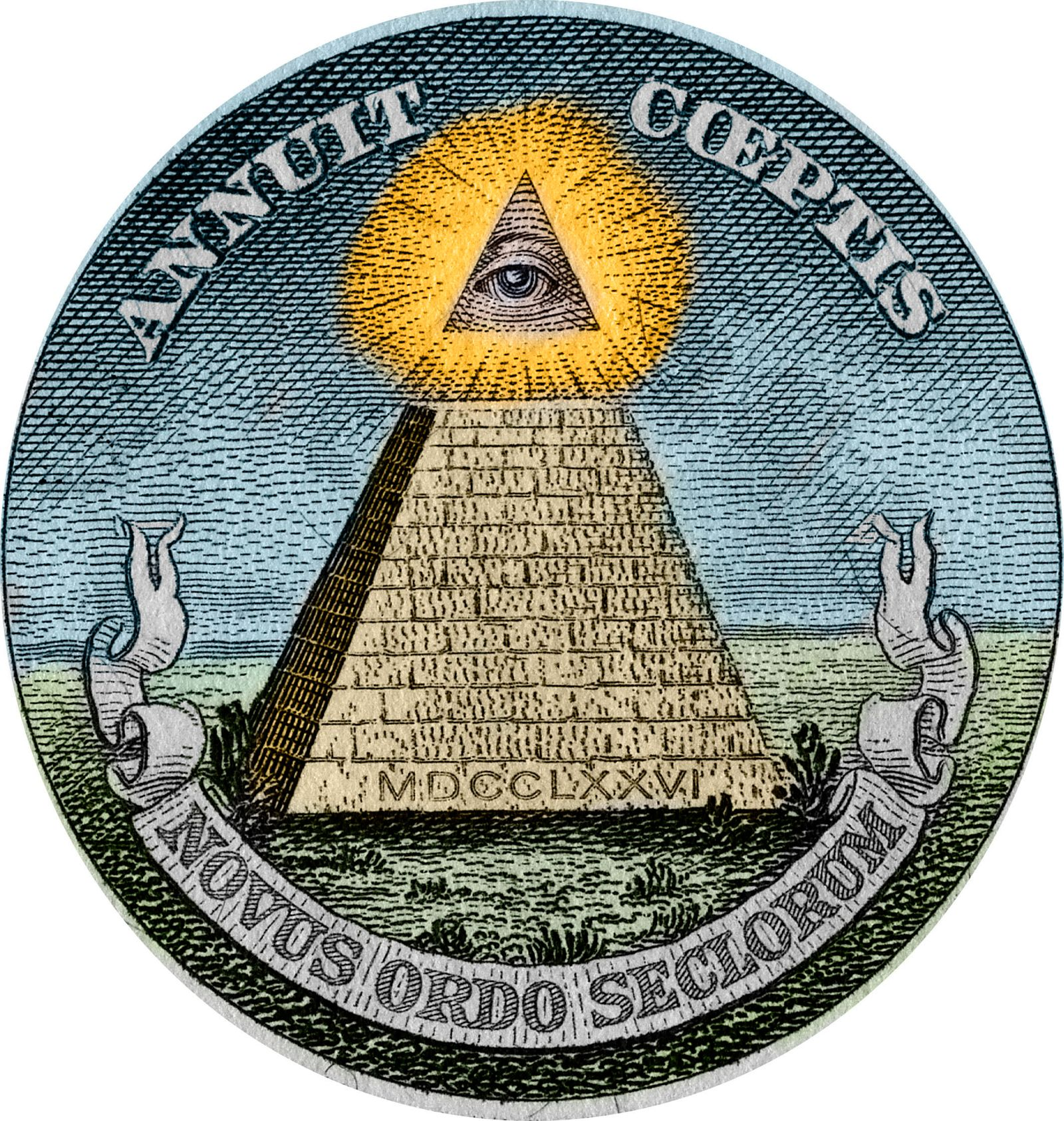Engraving of Pyramid and All-Seeing Eye from the Great Seal of the United States