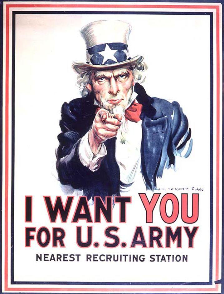 Recruiting-Poster (aus dem Ersten Weltkrieg): Uncle Sam bleibt nicht allein an Schulen