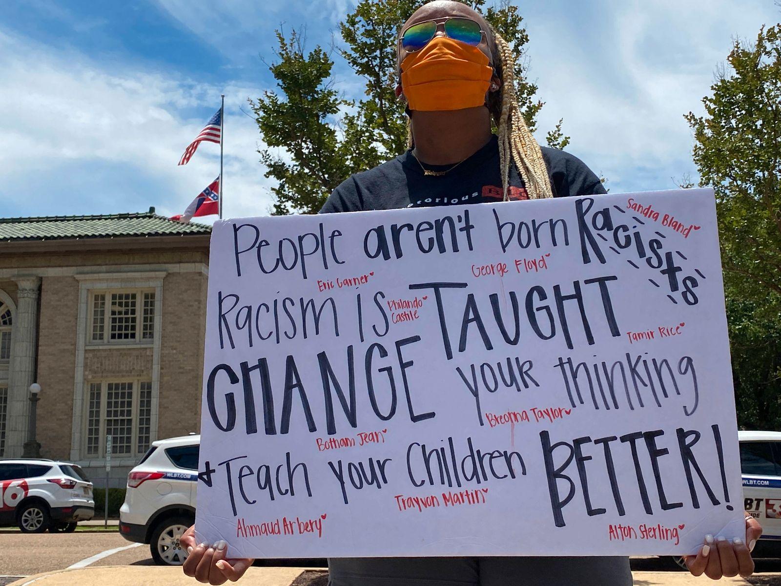 June 1, 2020, Jackson, Mississippi, USA: June 1, 2020 Jackson, MS Demonstrator Michaela Washington holds a sign thats sa