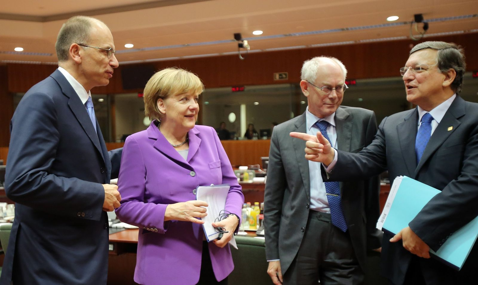 Enrico Letta, Angela Merkel, Jose Manuel Barroso, Herman Van Rompuy