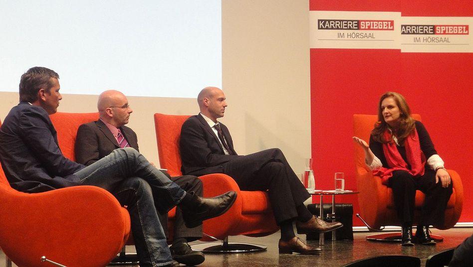 Debatte in Münster: Uta Glaubitz, Paul Meier, Armin Himmelrath, Mirko Kaminski (von rechts nach links)