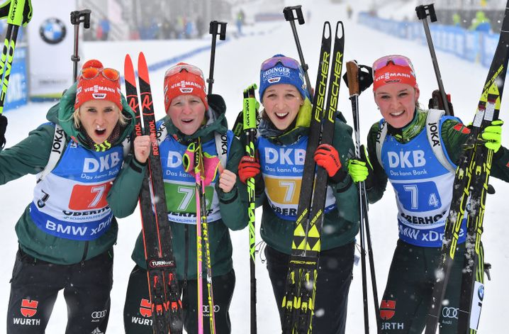 Die deutsche Biatlon-Staffel der Frauen war beim Weltcup 2019 in Oberhof auf den zweiten Platz gelaufen