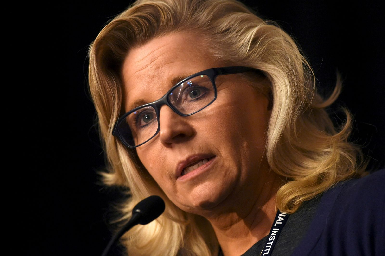 """FILE PHOTO: U.S. Representative Liz Cheney addresses the media during the 2017 """"Congress of Tomorrow"""" Joint Republican Issues Conference in Philadelphia, Pennsylvania"""