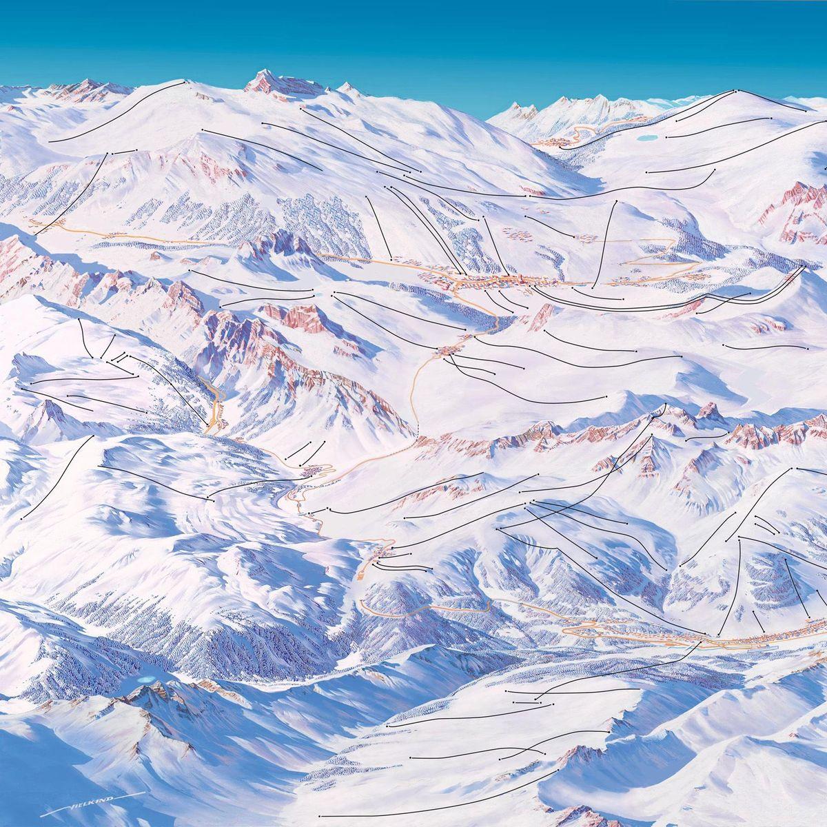 Skipisten Plan Maler Der Mann Der Die Karten Der Skigebiete Malt