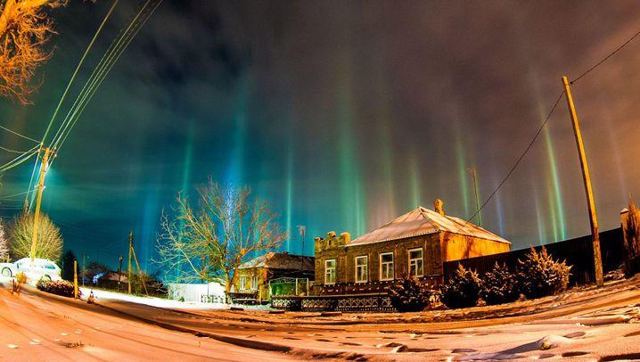 Naturereignis: Leuchtsäulen in Russland