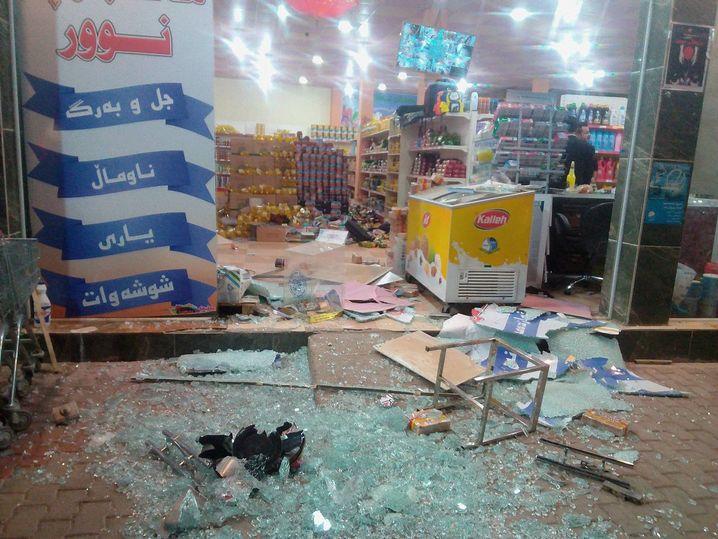 Zerstörter Supermarkt in Halabja, Irak