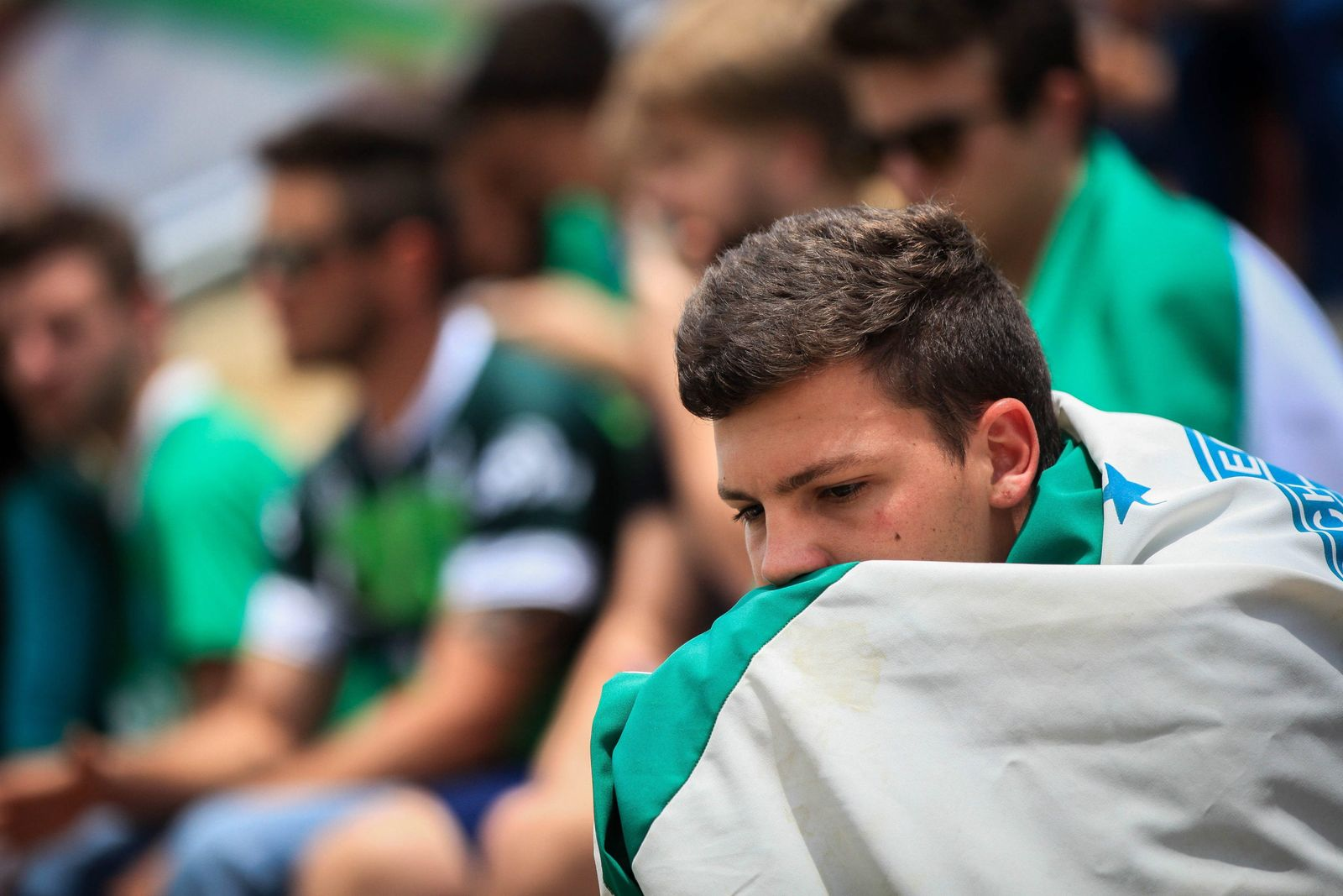 Supporters of Chapecoense honor the players at teams stadium