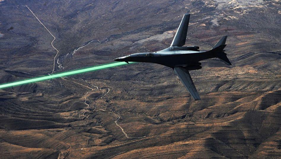 B-1-Bomber mit Laser (Darpa-Fotomontage): Realität schon in wenigen Jahren?