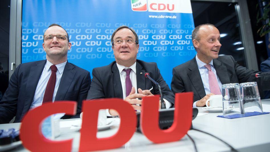 Spahn, Laschet, Merz (Archivbild aus dem November 2018): Wollen sie alle drei CDU-Chef und Unions-Kanzlerkandidat werden?