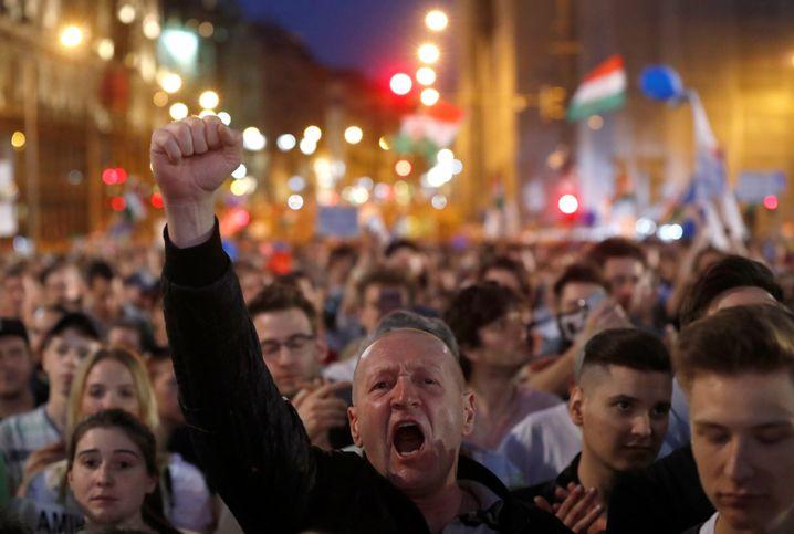 Demonstranten in Budapest