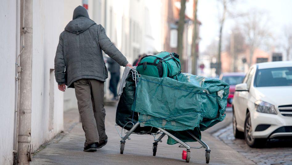 Obdachloser Mann in Lüneburg, März 2018