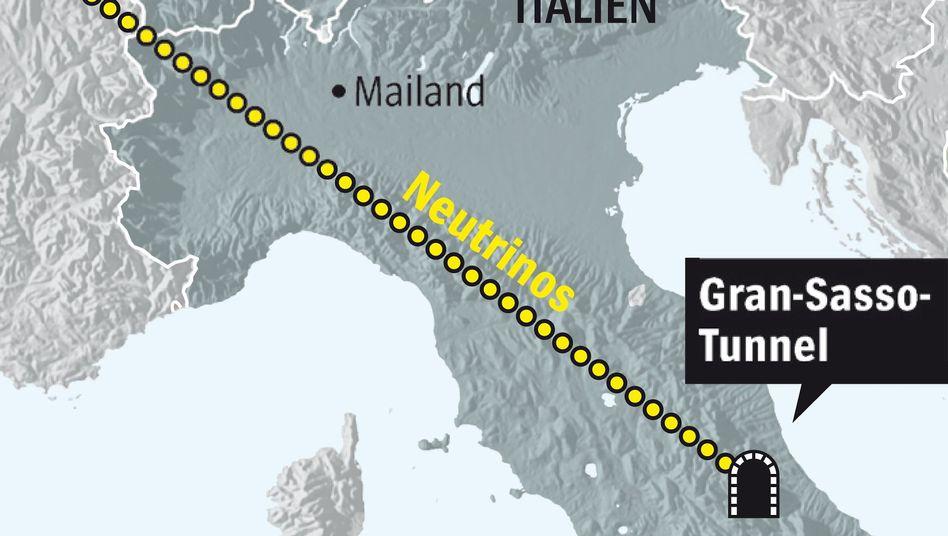 Neutrino-Pfad von Genf zum Gran-Sasso-Massiv: Gravierender Verstoß gegen Tempolimit