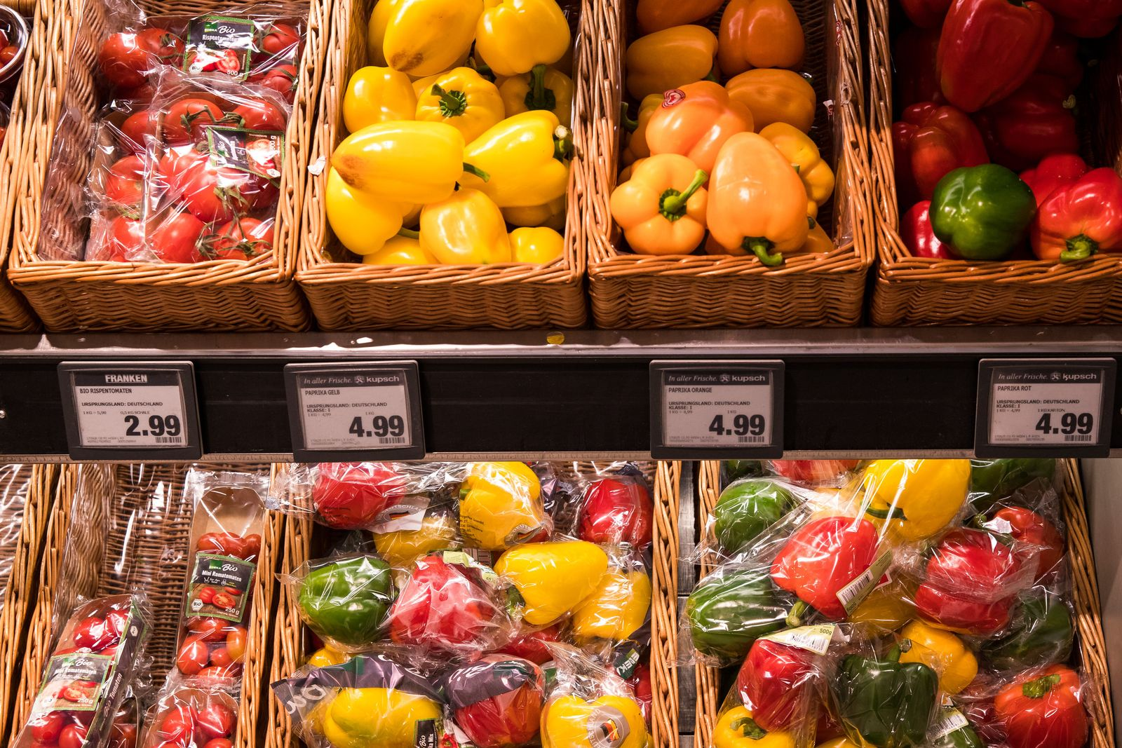 Verpacktes und loses Gemüse