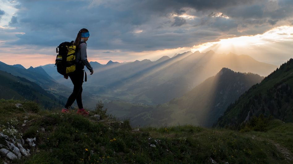 Wanderin in der Schweiz