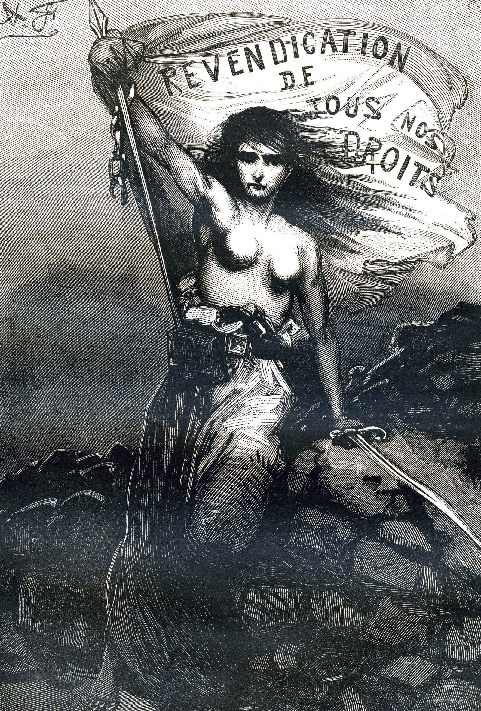 COMMUNE DE PARIS La Commune. Revendication de tous nos droits . Belle representation feministe et symbolique de la Commu