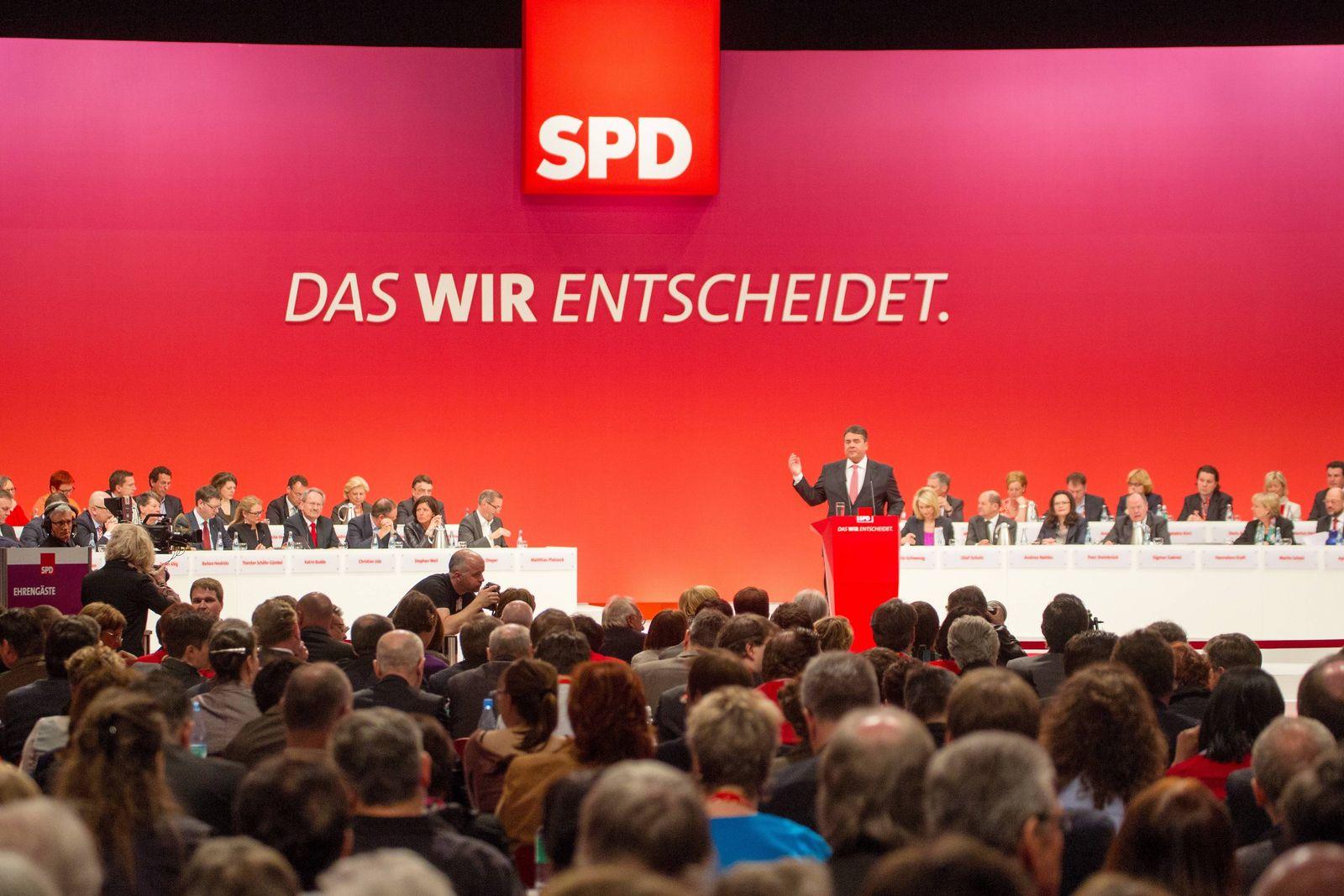 EINMALIGE VERWENDUNG Sigmar Gabriel/ SPD/ Parteitag