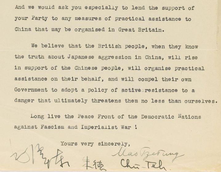 """Pathetische Schlussformel im Brief Maos: """"Lang lebe die Friedensfront der demokratischen Nationen gegen den Faschismus und den imperialistischen Krieg"""""""