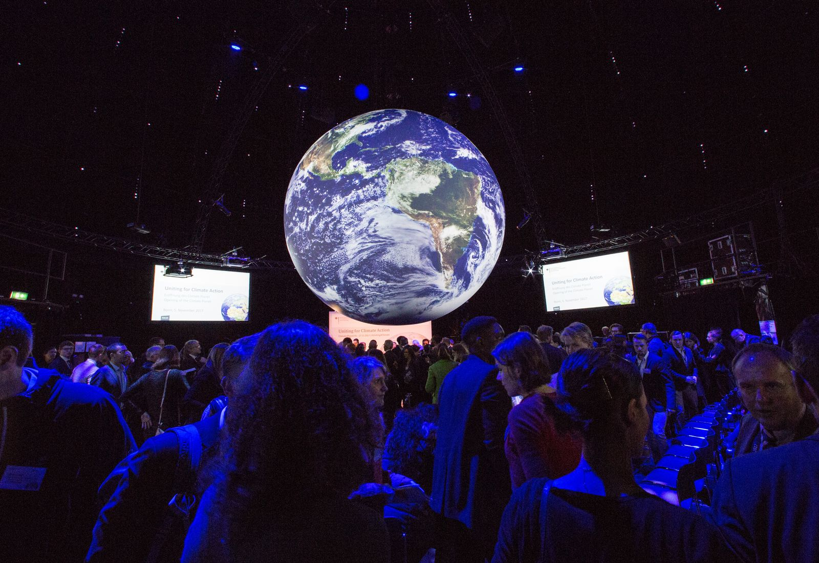 EINMALIGE VERWENDUNG UN Climate Conference in Bonn. Interior view of the Climate Planet.