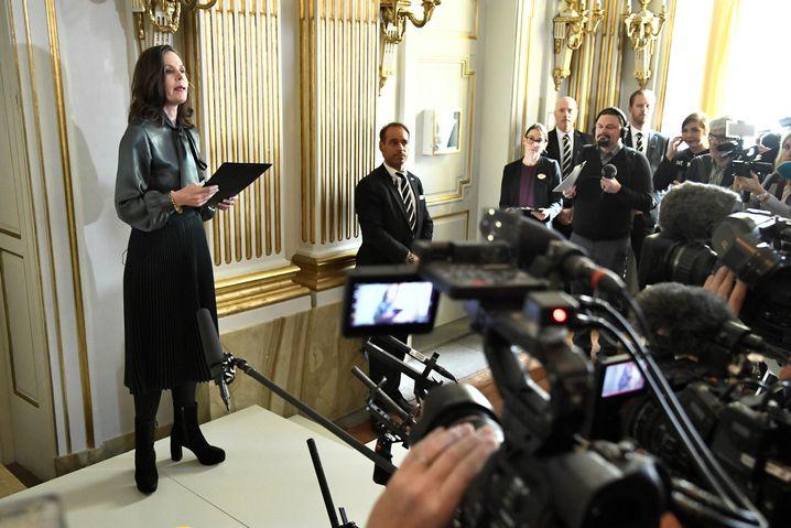 Sara Danius, die Ständige Sekretärin, bei der Bekanntgabe des Nobelpreisgewinners 2017