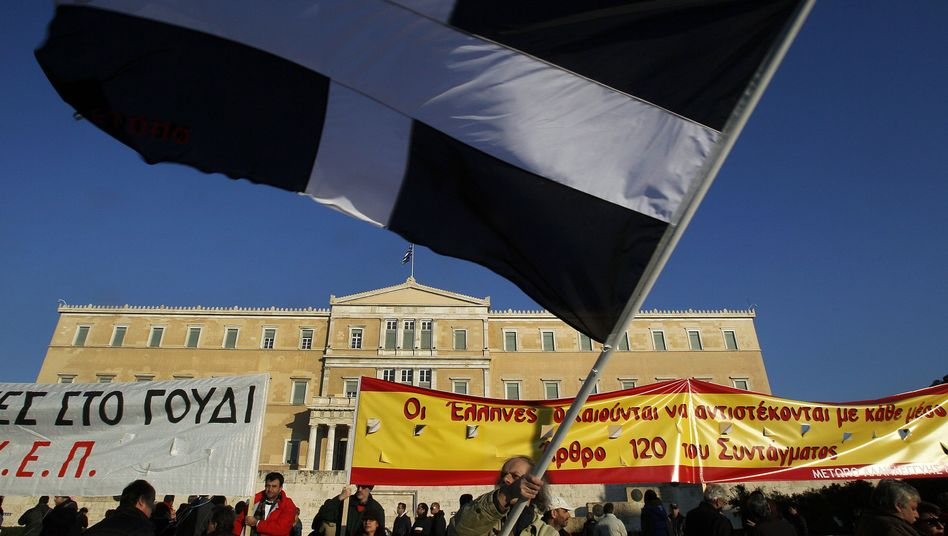 Anti-austerity protests in front of the Greek parliament on Sunday.