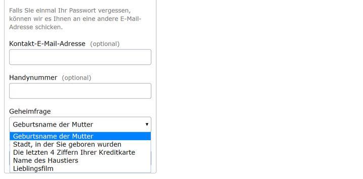 Vorgegebene Geheimfragen bei Web.de