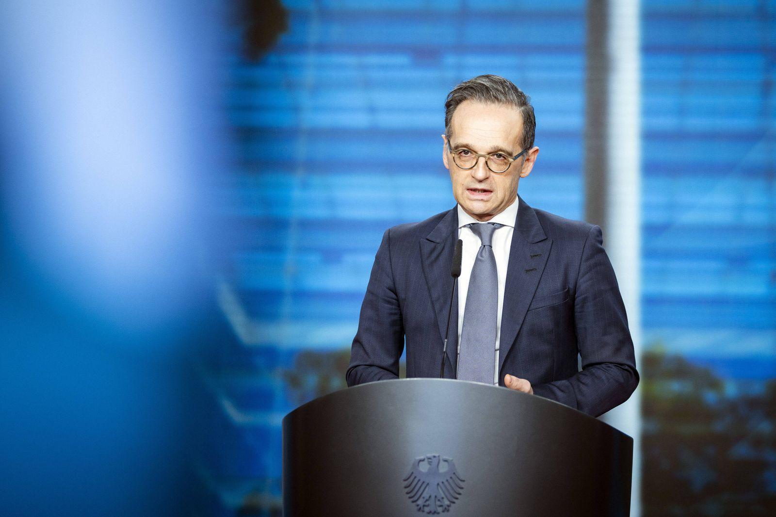 Heiko Maas, Bundesaussenminister, aufgenommen im Rahmen einer virtuellen Pressekonferenz zur Eroeffnung des Bundesamts