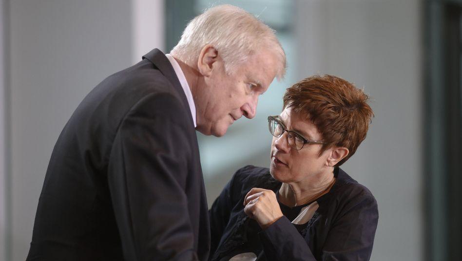 """Innenminister Seehofer, Verteidigungsministerin Kramp-Karrenbauer: """"Auch mal einen Stein ins Wasser werfen"""""""