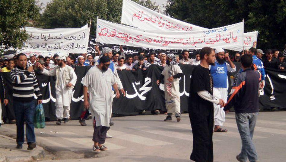 Proteste in Sidi Bouzid (am 21. Oktober): Massiver Einsatz der Sicherheitskräfte