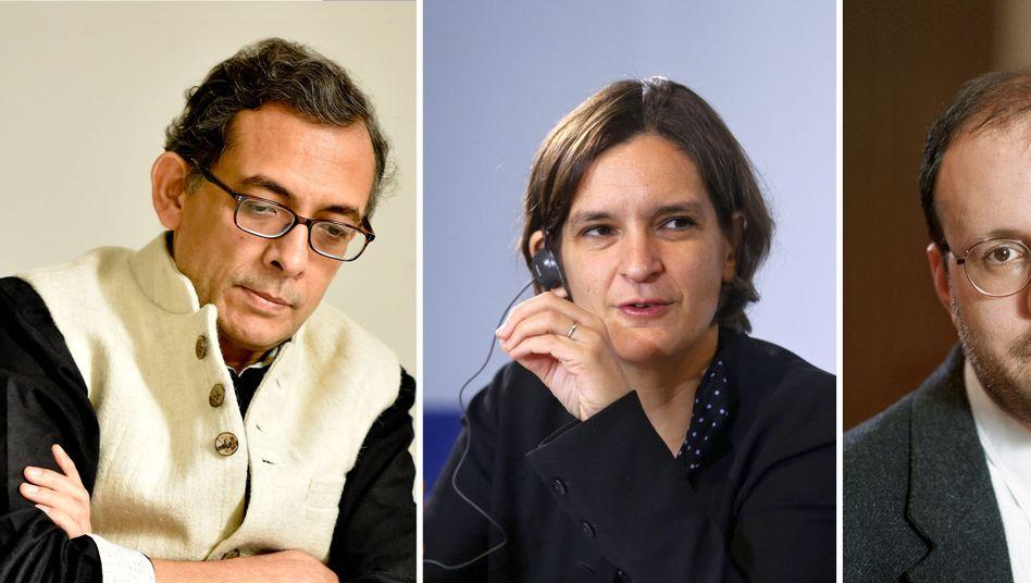 """Nobelpreisträger Abhijit Banerjee, Esther Duflo und Michael Kremer (v.l.): """"Experimenteller Ansatz zur Linderung von Armut"""""""