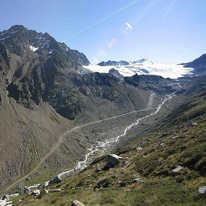 Rettenbach glacier in Austria is rapidly receding.