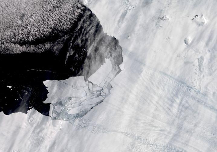 Satellitenaufnahme vom Februar 2020: Eisberge lösen sich vom Pine-Island-Gletscher in der Antarktis