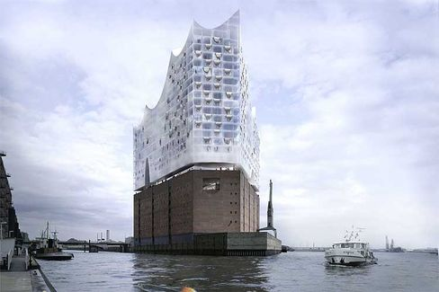 A computer-generated picture of the exterior of the Elbe Philharmonic concert hall being built in Hamburg's harbor. Landry believes buildings like this one can help to define a city.