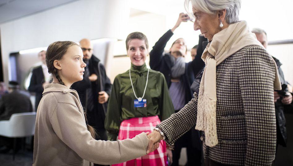 Greta Thunberg mit Christine Lagarde
