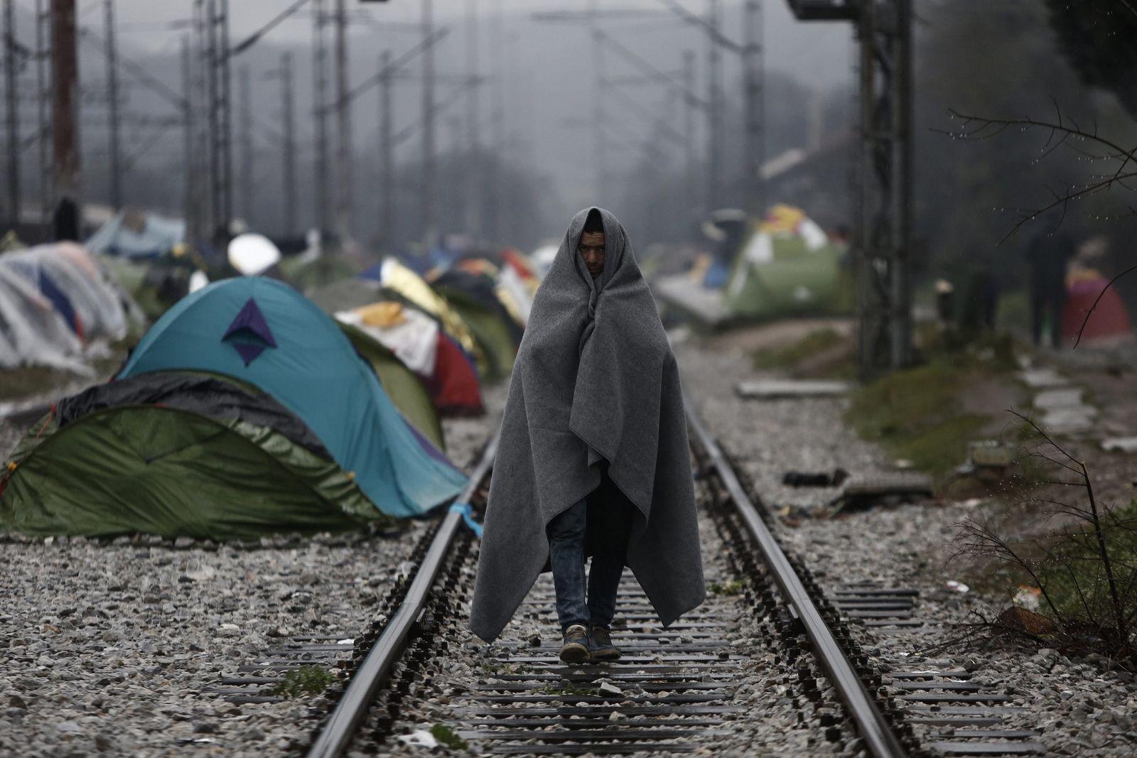 Flüchtling Grenze Mazedonien Griechenland